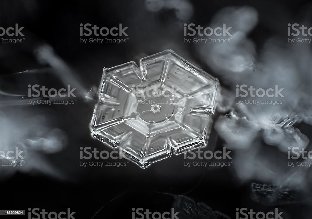 Snowflake extreme close-up: simple prism plate stock photo