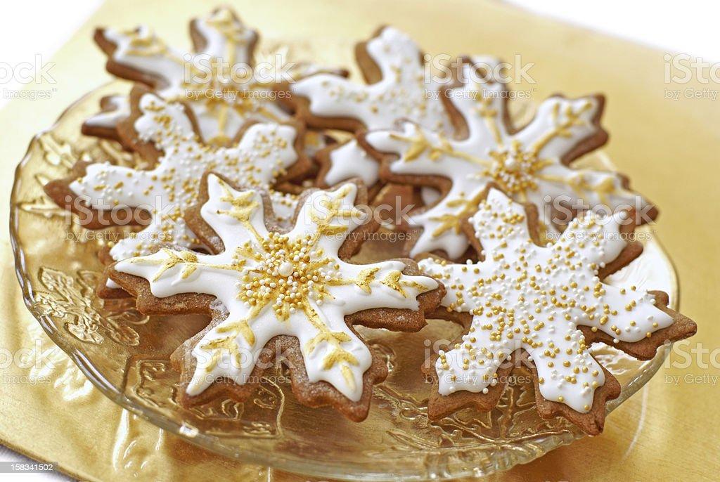 Snowflake gingerbread cookies stock photo
