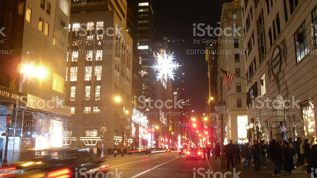UNICEF Snowflake Hanging Above 5th Avenue in Manhattan. stock photo