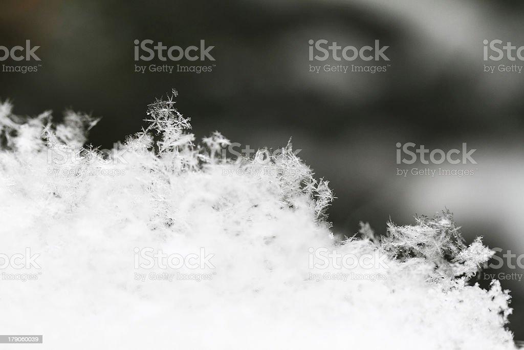 Snowflake in white snow royalty-free stock photo