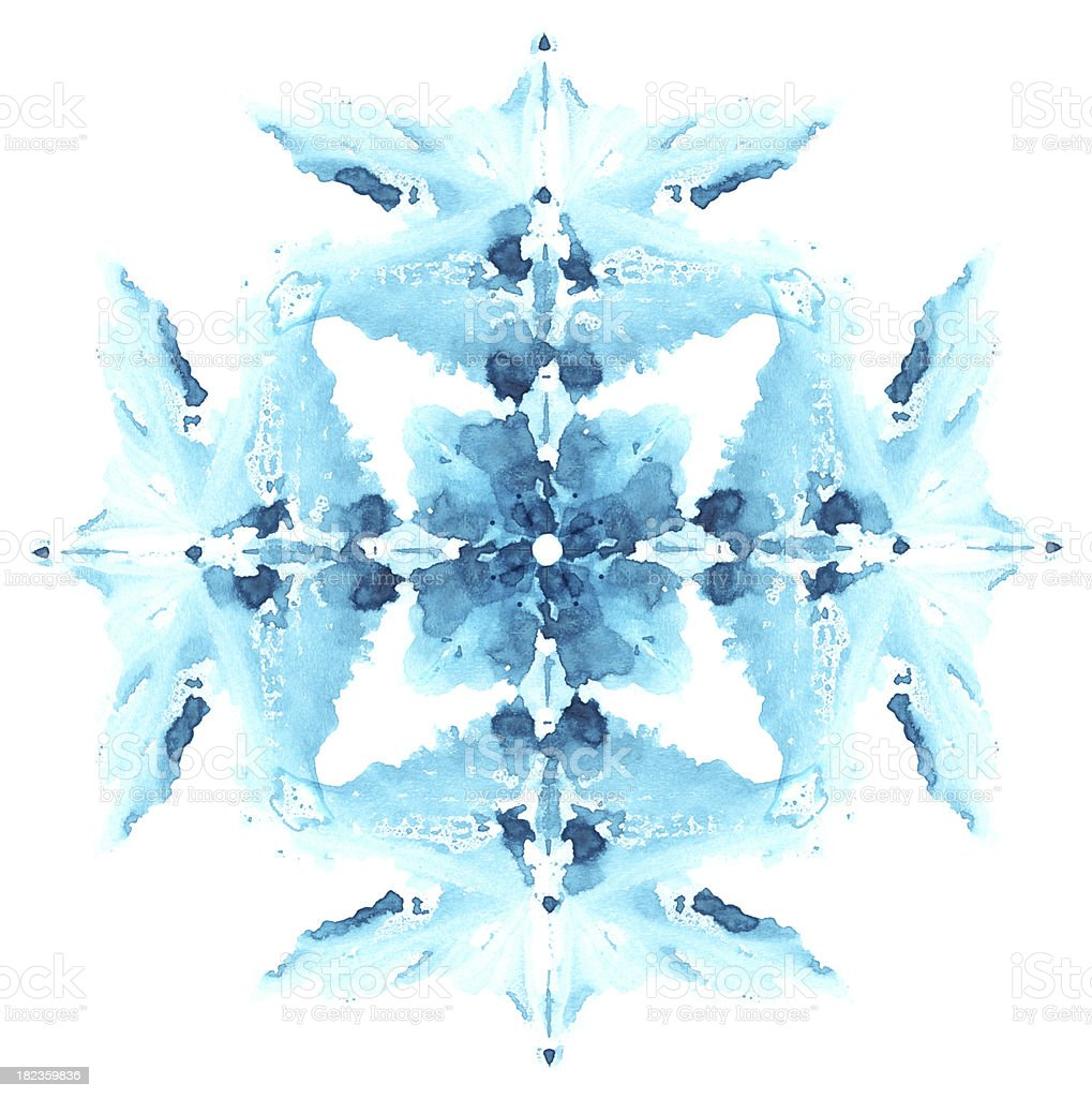 Snowflake made from imprint watercolor spot. royalty-free stock photo