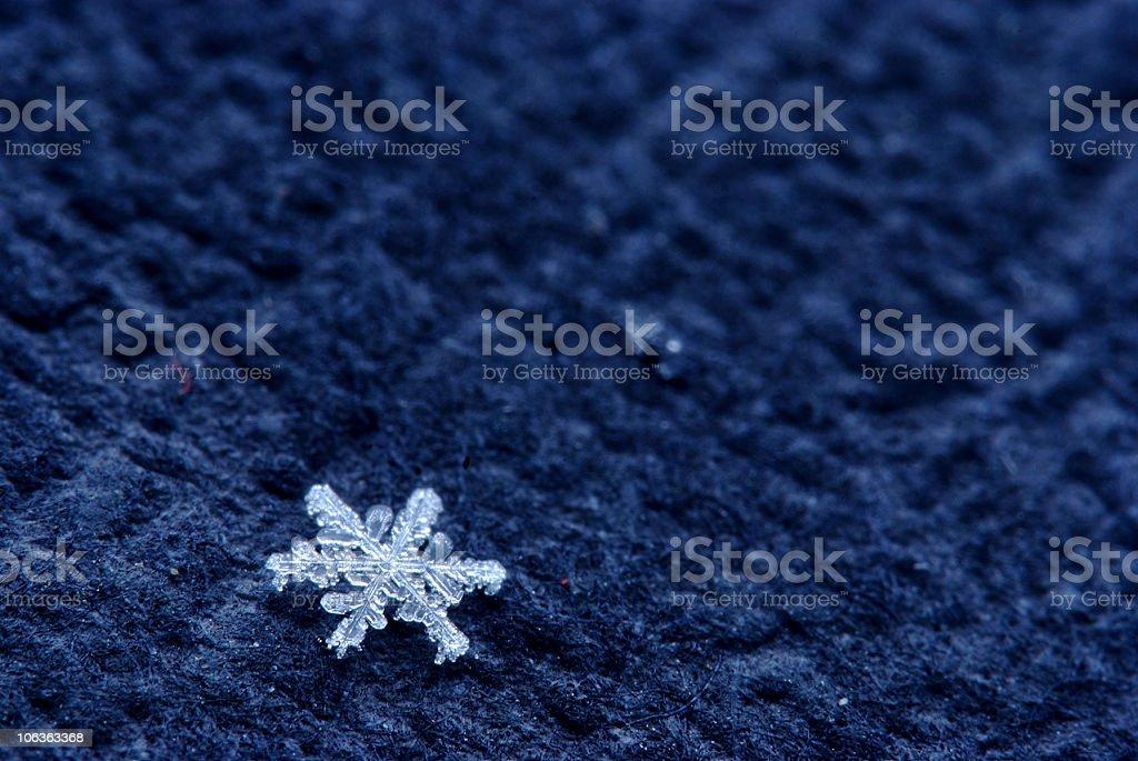 snowflake on black bacground, macro shot royalty-free stock photo