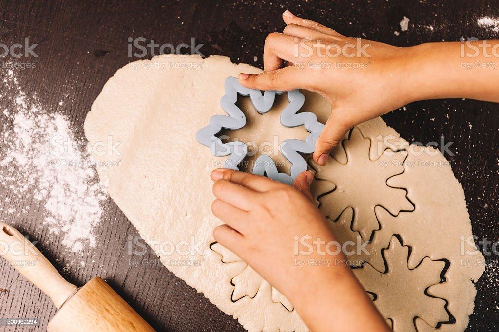 snowflake shaped cookies stock photo