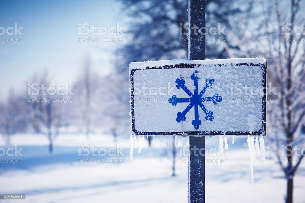 snowflake sign stock photo