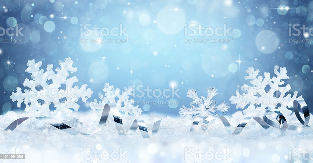 Snowflakes And Ribbon On Snow - Christmas Card stock photo