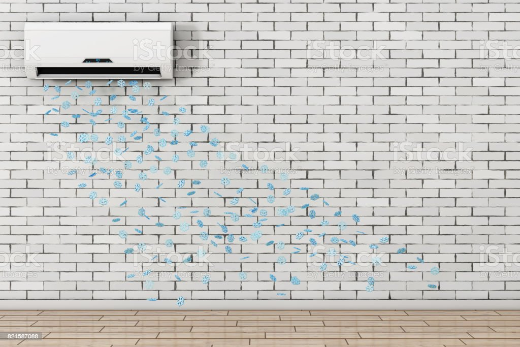 Snowflakes Drop from Modern Air Conditioner. 3d Rendering stock photo