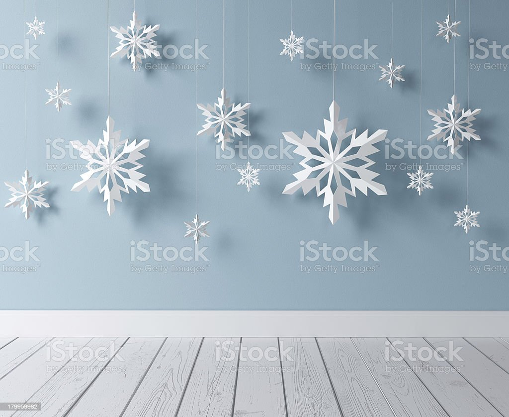 snowflakes in room stock photo