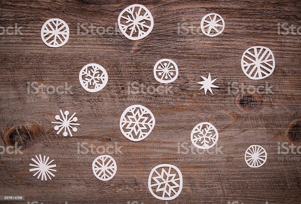Snowflakes on Wood stock photo