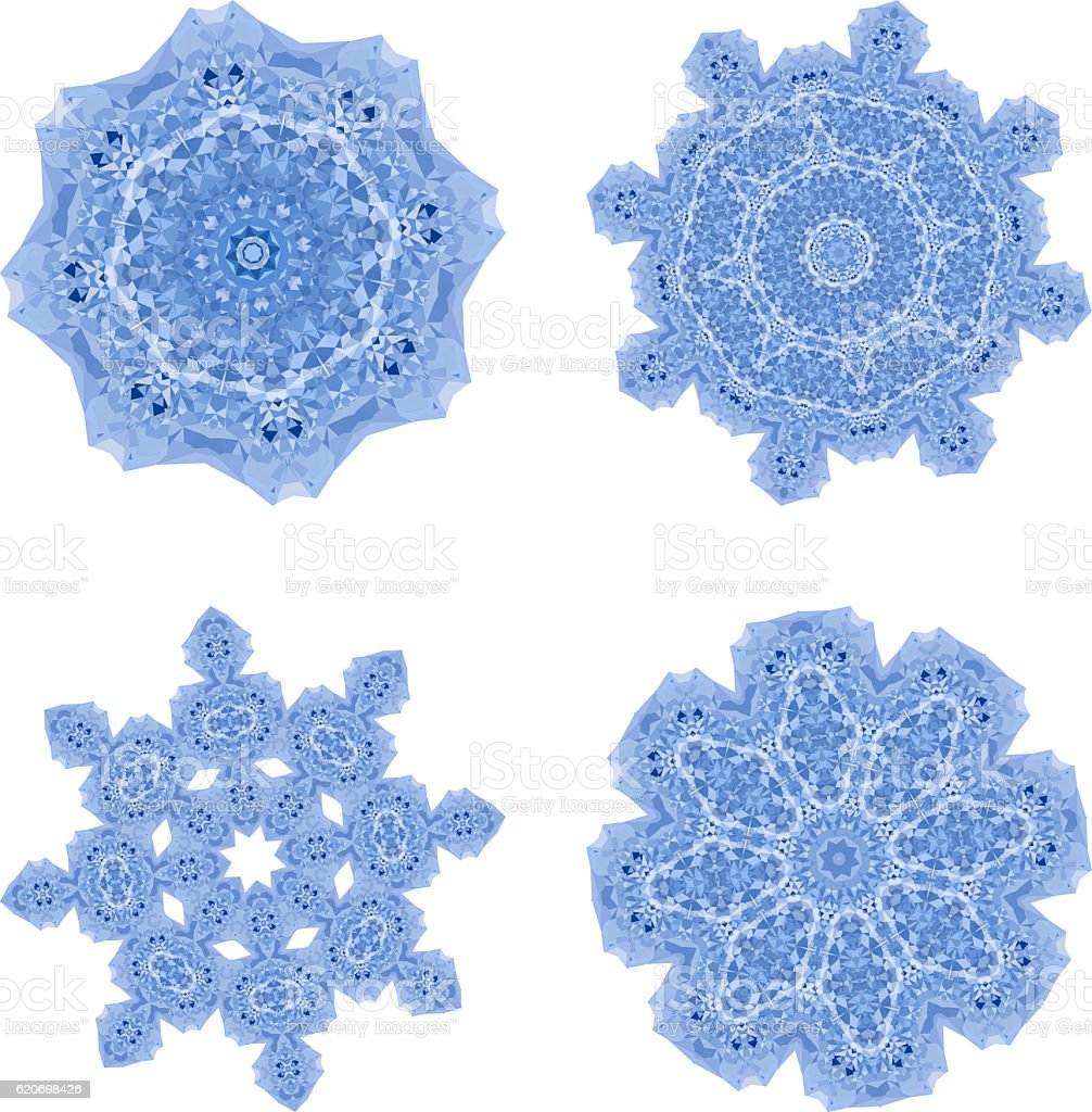 Snowflakes polygonal mosaic template collection in low poly styl stock photo