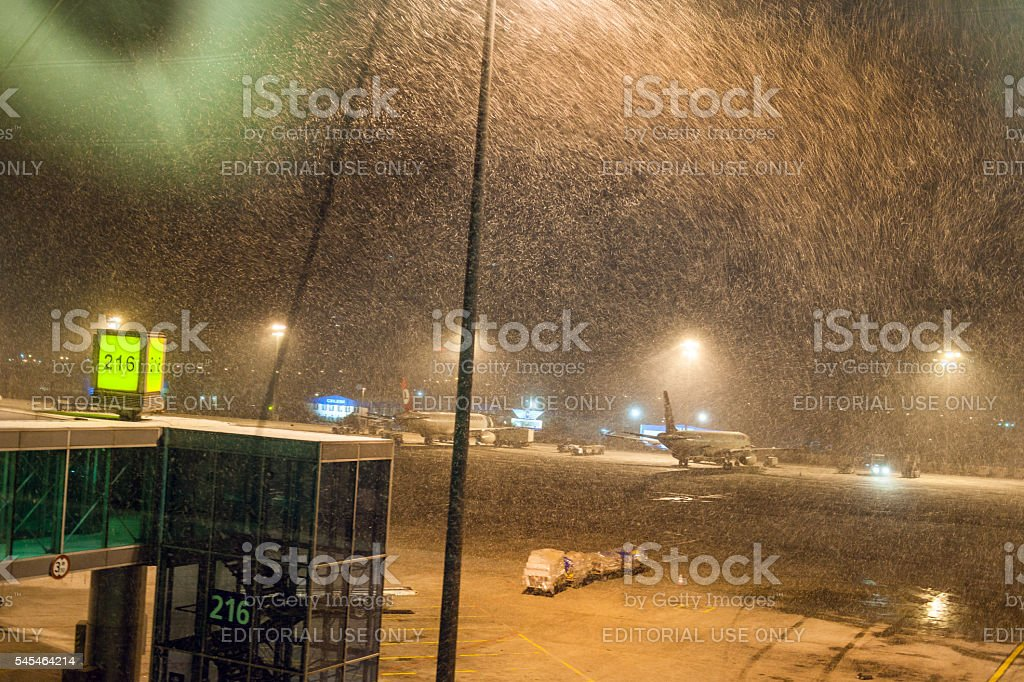 Snowing at Ataturk Airport Istanbul,morning, snowstorm,  Istanbul,Turkey stock photo