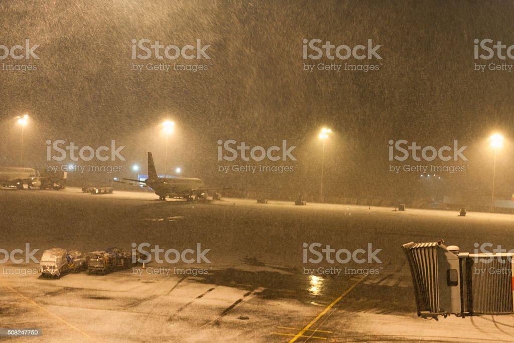 Snowing at Ataturk Airport Istanbul,morning, snowstorm, Turkey stock photo
