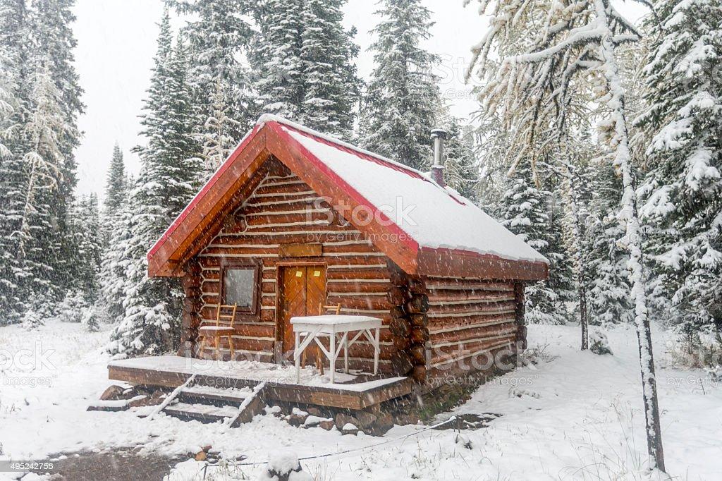 Snowing at Mount Assiniboine Provincial Park, Canada. stock photo