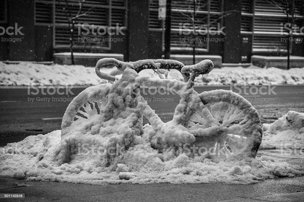 Snowing downtown Chicago stock photo