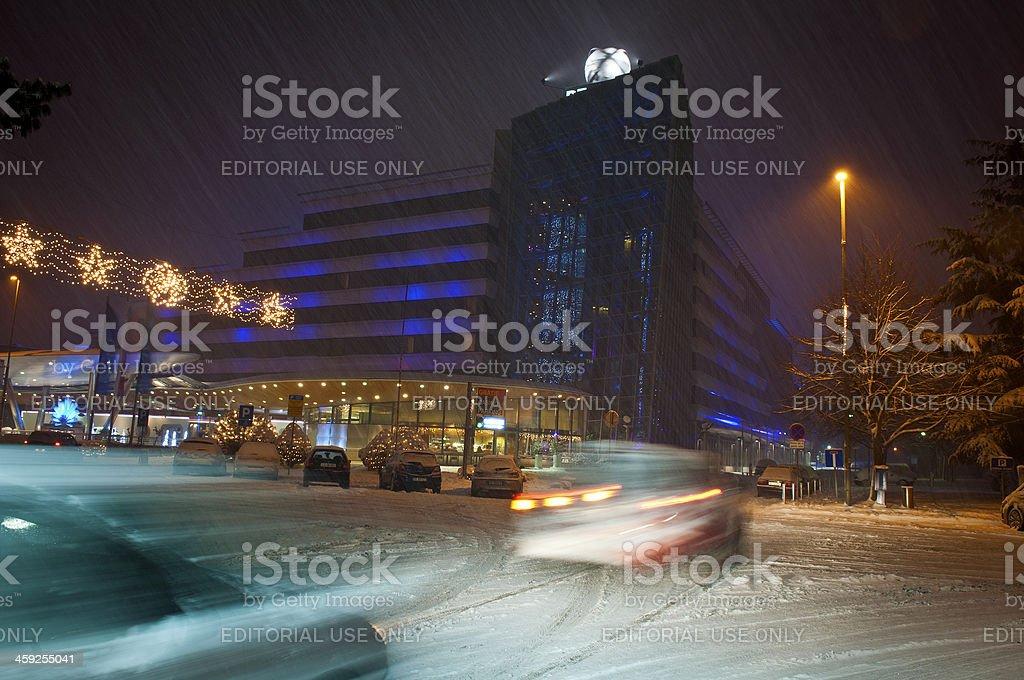 Snowing in Nova Gorica at Night Slovenia royalty-free stock photo