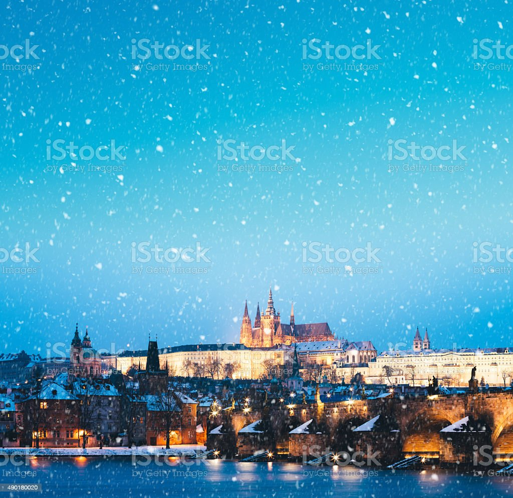 Snowing In Prague stock photo