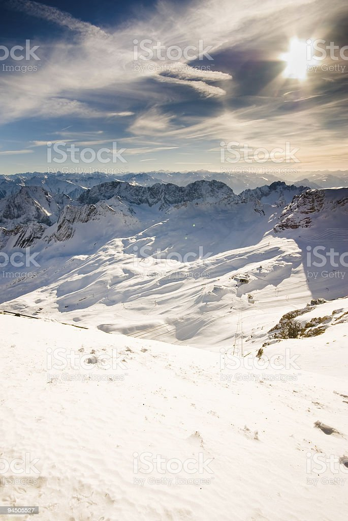 Snowlandscape with sun royalty-free stock photo