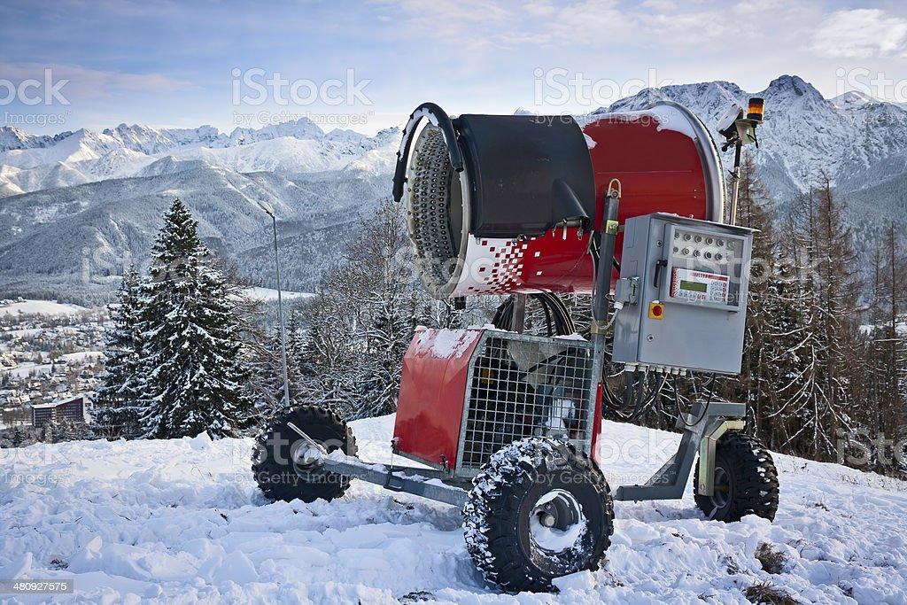 Snowmaking machine in Zakopane, Poland royalty-free stock photo
