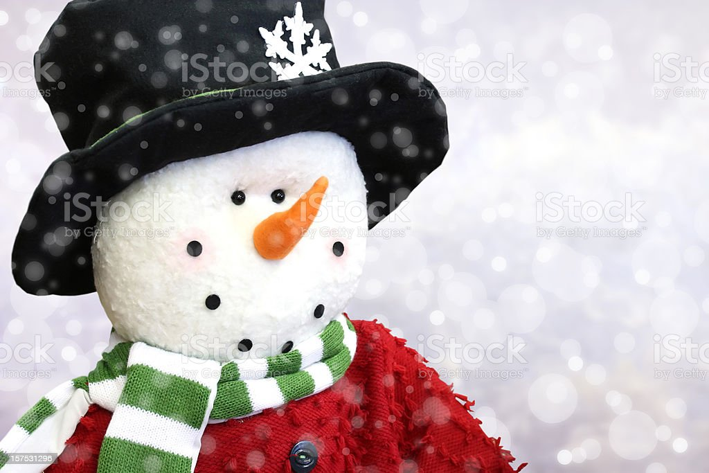 Snowman and Winter Storm royalty-free stock photo
