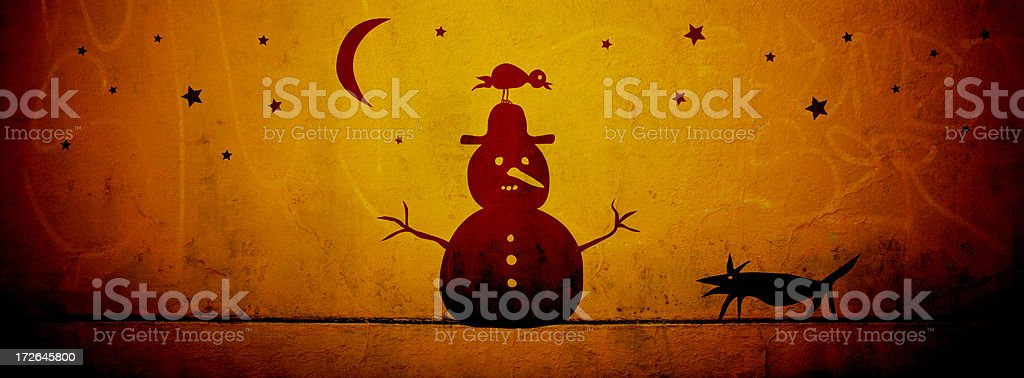 Snowman, Bird and Dog - Cave Drawings Series royalty-free stock photo