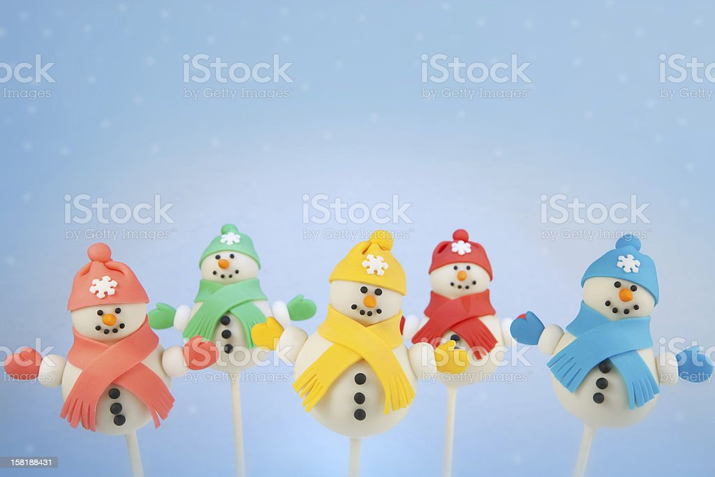 Snowman cake pops stock photo