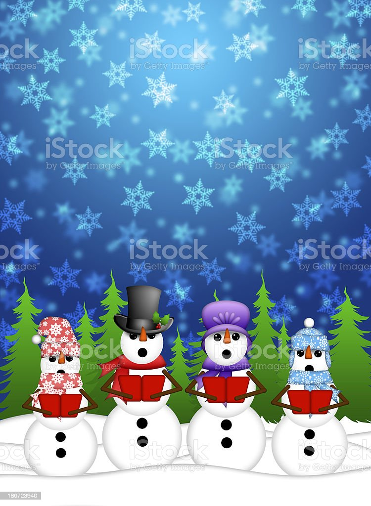 Snowman Carolers Singing with Winter Snowing Scene Illustration stock photo