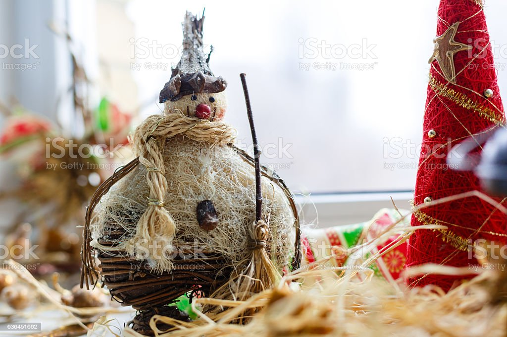 snowman charm guardian straw stock photo