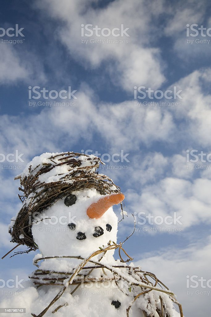 Snowman close-up big sky stock photo
