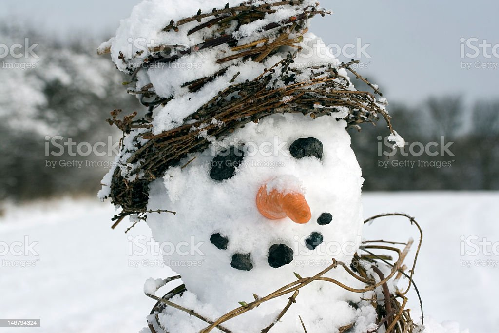 Snowman close-up landscape stock photo