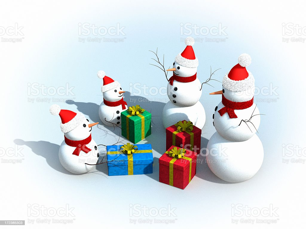 Snowman Family at Christmas XL royalty-free stock photo