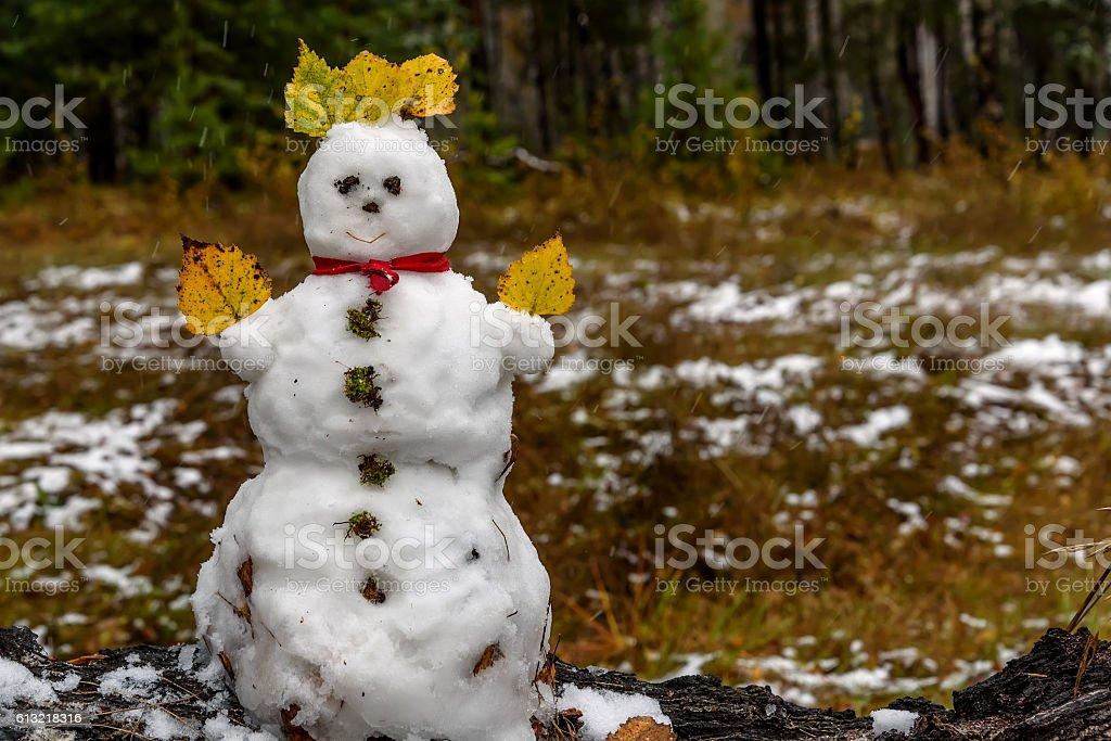 snowman first snow forest autumn stock photo