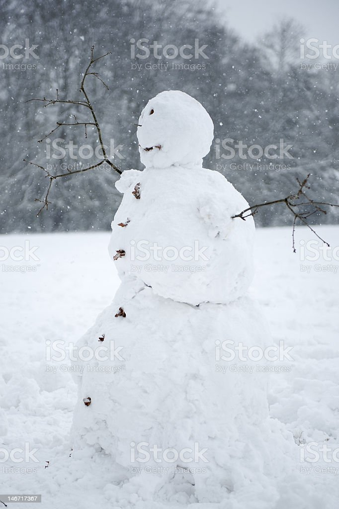 Snowman in a snow storm stock photo