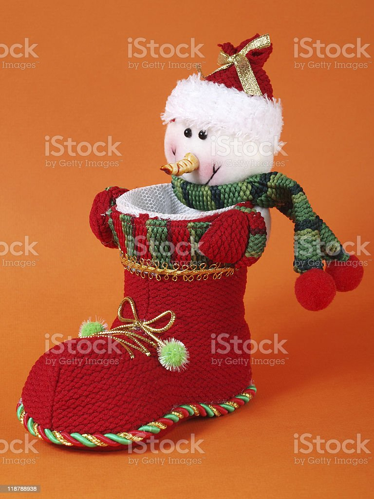 Snowman in boot royalty-free stock photo