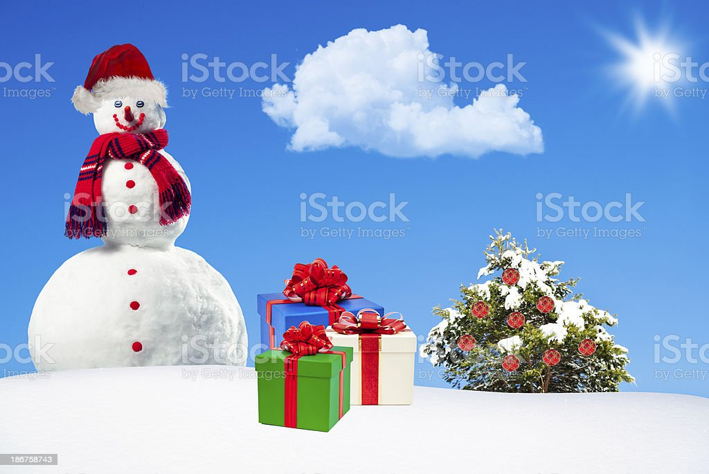 Snowman in Christmas royalty-free stock photo