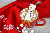 snowman in hot chocolate drink