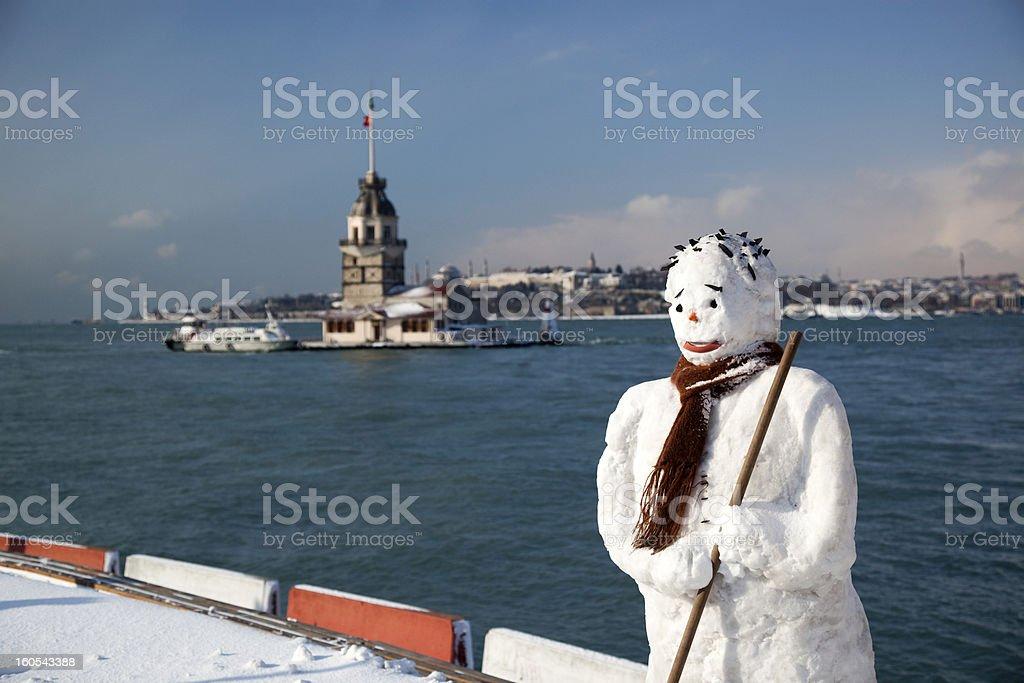 Snowman in Istanbul, Turkey stock photo