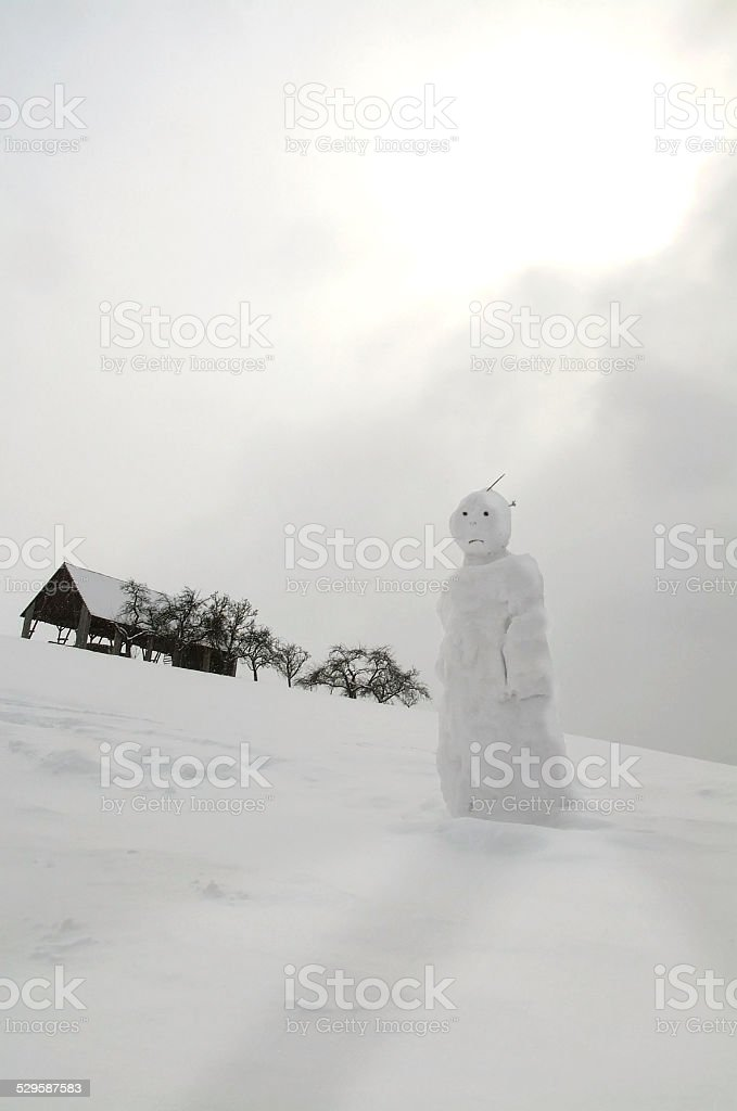 Snowman in the snowy slope royalty-free stock photo