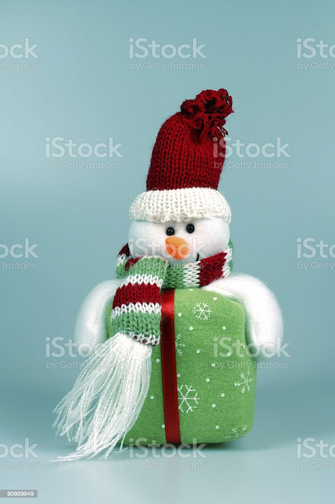 Snowman in Winter Blue royalty-free stock photo