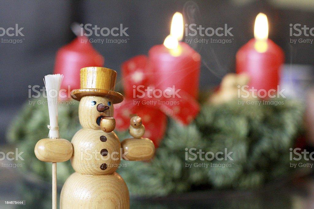 Snowman Incense Burner Advent royalty-free stock photo