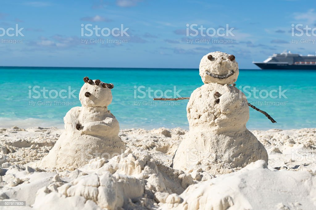 Snowman made of sand stock photo