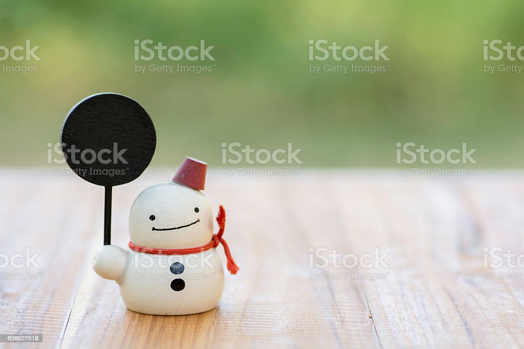 snowman made of wood royalty free stock photo
