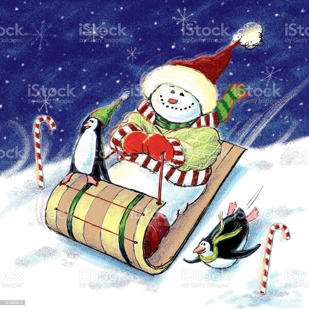 Snowman on a Sled royalty-free stock photo
