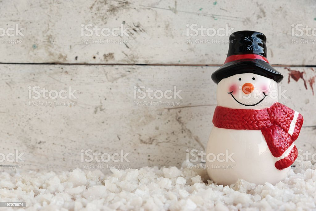 snowman on the snow stock photo