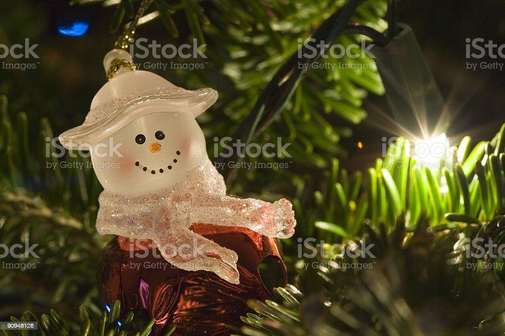 Snowman on the tree royalty-free stock photo