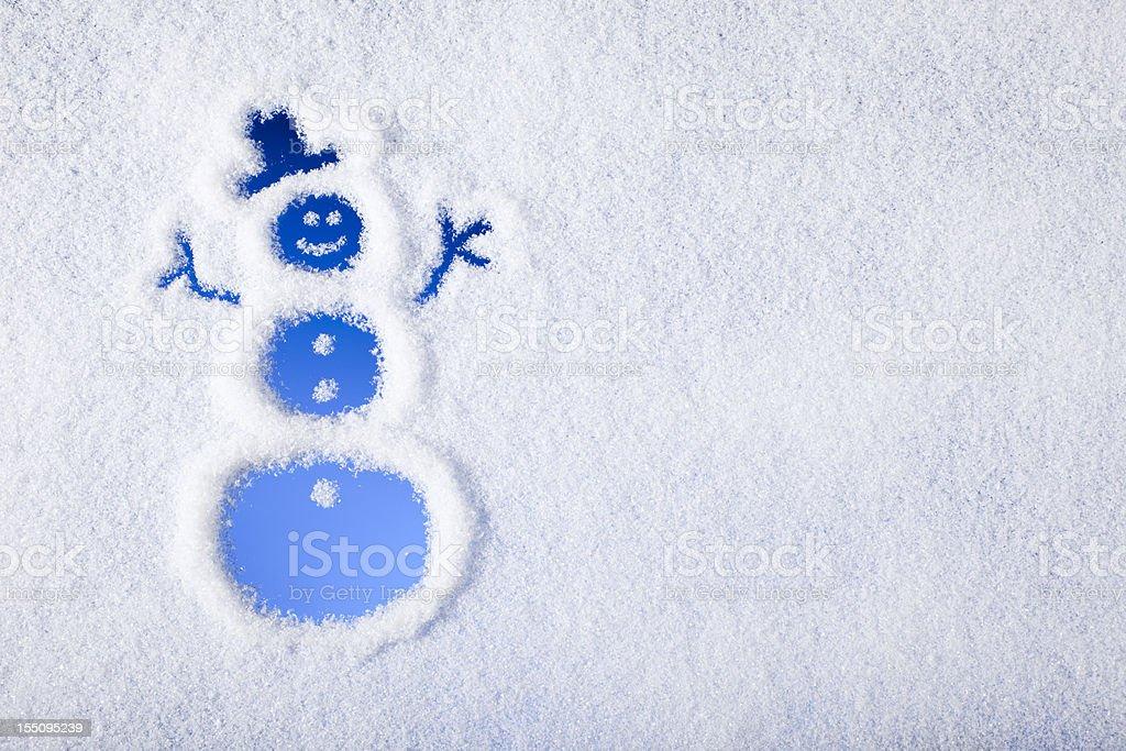Snowman painted on frozen window stock photo
