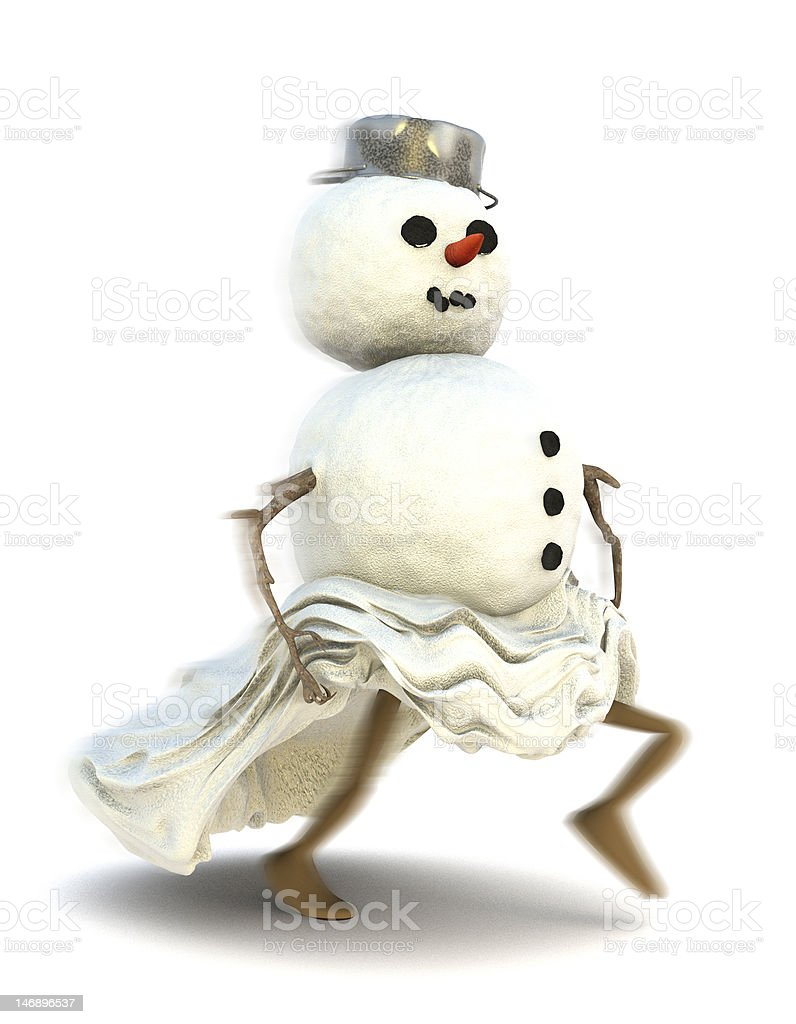 Snowman running away royalty-free stock photo