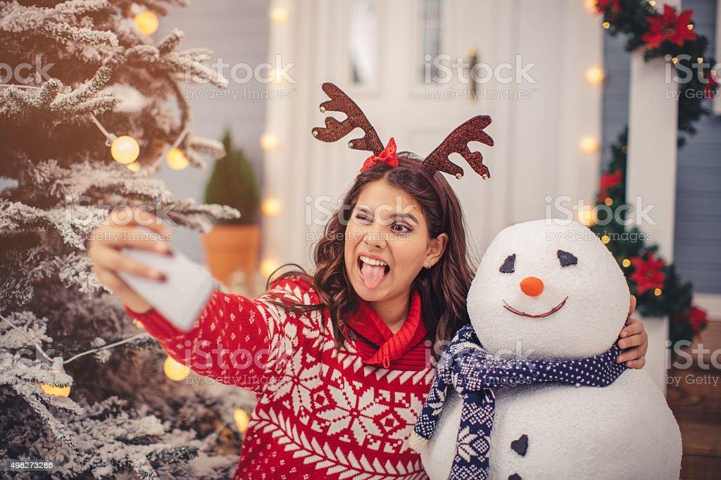 Snowman selfie. stock photo