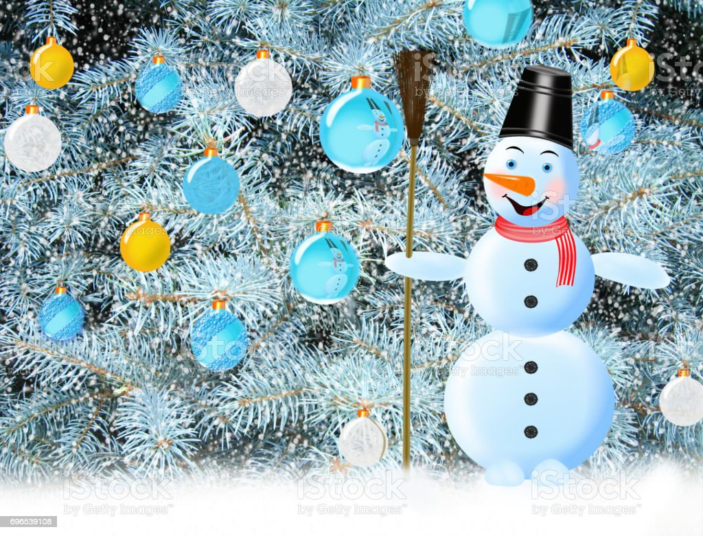 snowman snow and New Year tree stock photo
