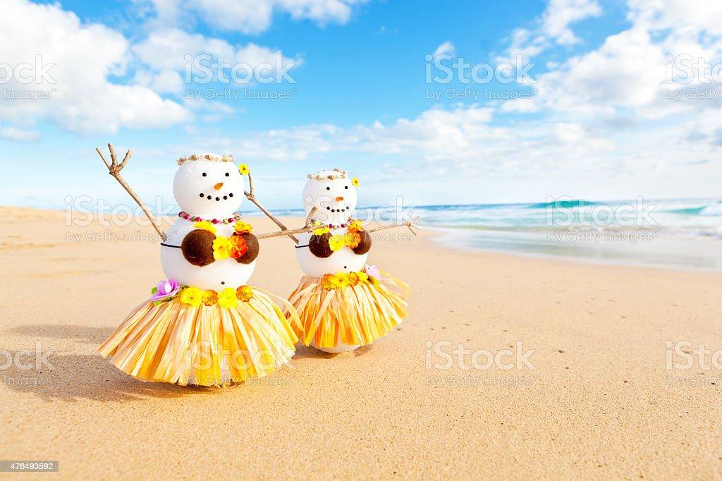 Snowman Snowbirds Hawaiian Hula Dancers on Tropical Beach stock photo