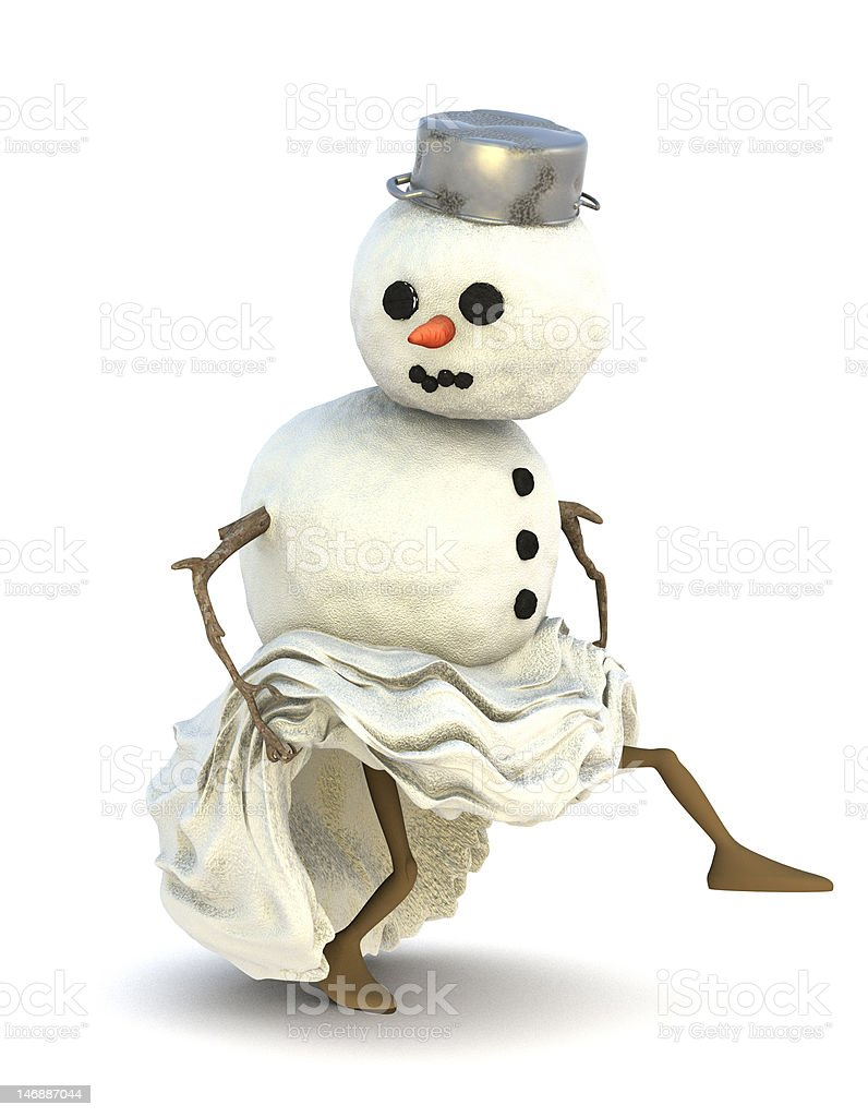 Snowman steals off royalty-free stock photo