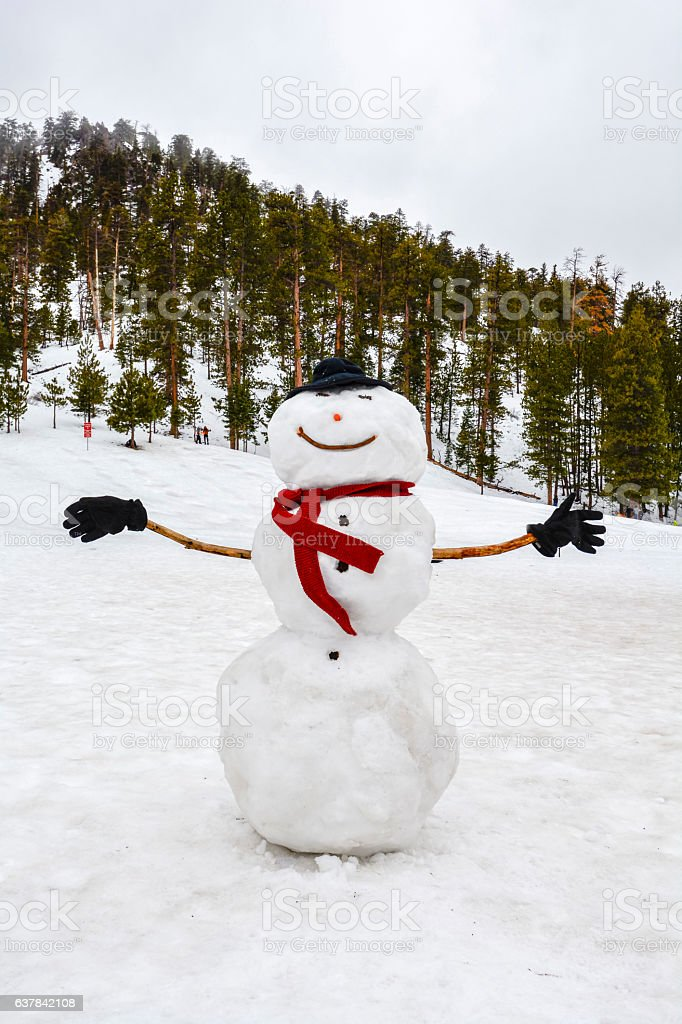 Snowman wearing a blsck hat and red scarf stock photo